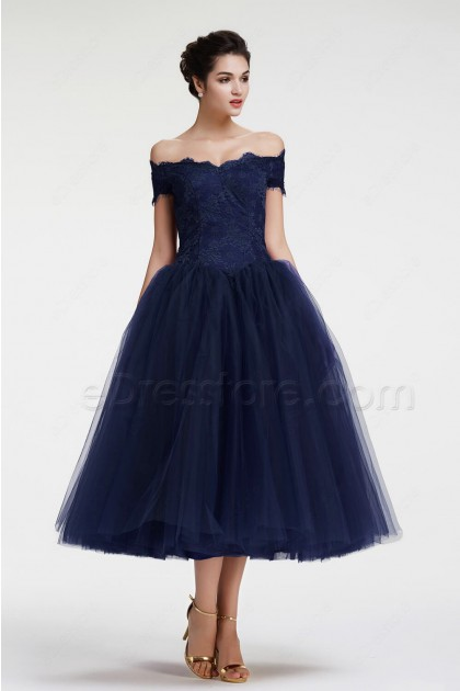 Navy Blue Off the Shoulder Ball Gown Vintage Evening Dress Tea Length
