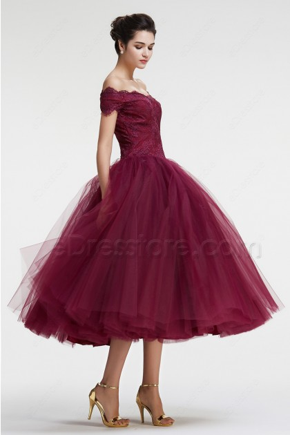 Off the Shoulder Ball Gown VIntage Prom Dresses Tea Length