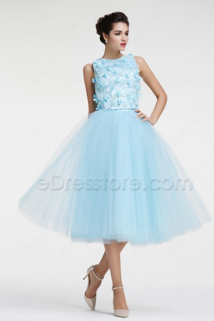Light Blue Two Piece Prom Dresses Tea Length with Embroidery