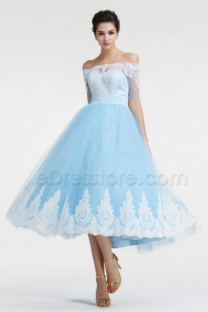 Blue Off the Shoulder Vintage Prom Dresses with Sleeves