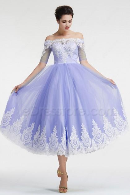 Off the Shoulder Lavender vintage Homecoming Dresses with Sleeves