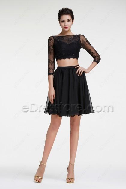 Black Lace Beaded Short Prom Dresses Long Sleeves