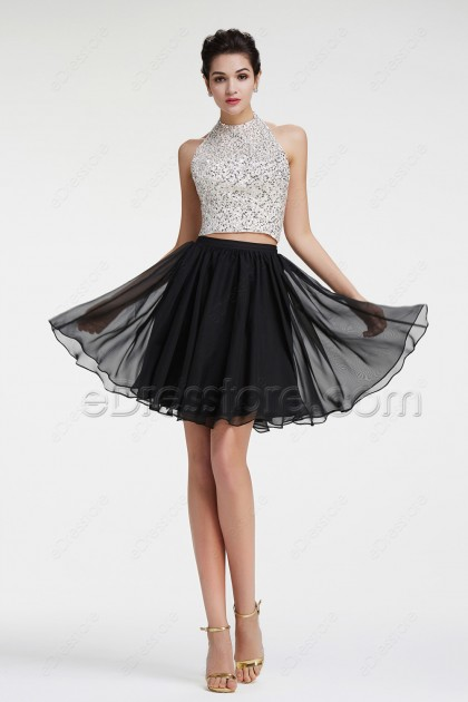 Halter Sparkly Crystals Sequins Two Piece Prom Dresses Short
