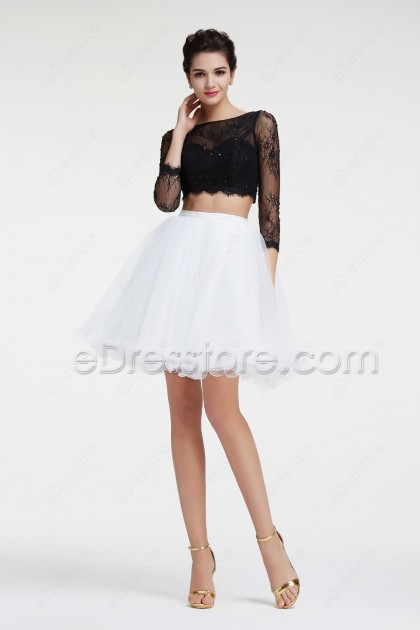 Black and White Homecoming Dress Long Sleeves Short Prom Dress