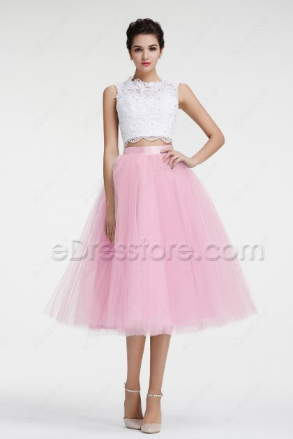 White Pink Two Piece Cocktail Dresses