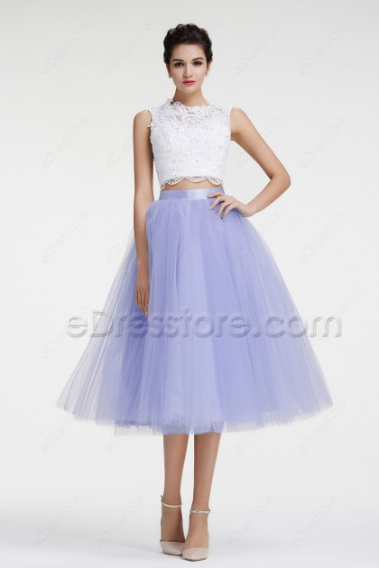 Lavender Two Piece Prom Dresses Ball Gown Homecoming Dresses
