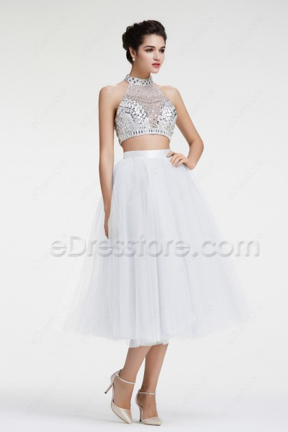 Crystals Glitter 2 Piece Prom Dresses White Homecoming Dress