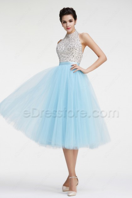Light BLue Halter Backless Sparkly Prom Dresses Tea Length Homecoming Dresses