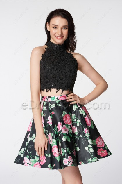 Halter Sparkly Two Piece Floral Prom Dresses Short