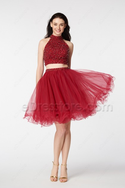 Beaded Burgundy Short Prom Dresses