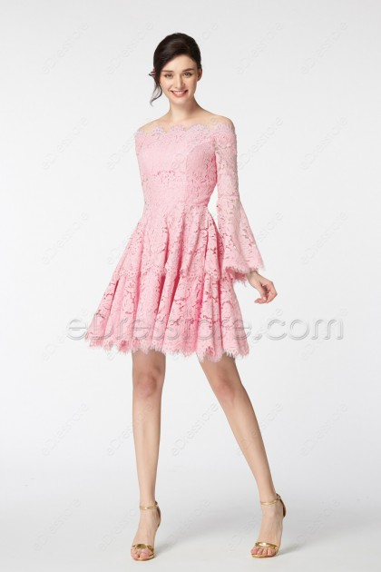 Pink Boho Cocktail Dresses Long Sleeves