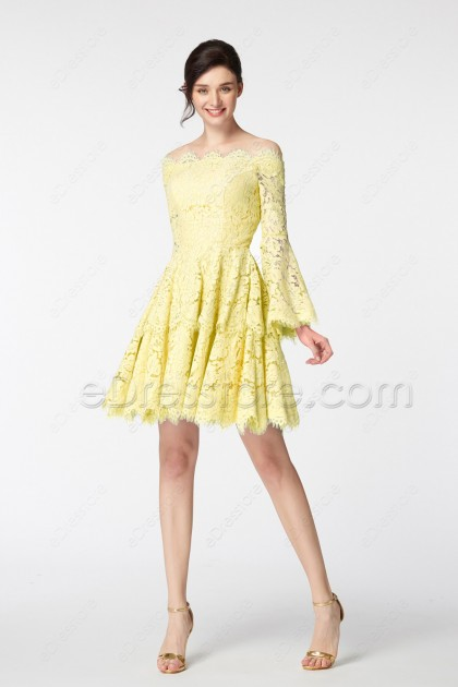 Yellow Scalloped Tiered Homecoming Dresses Long Sleeves