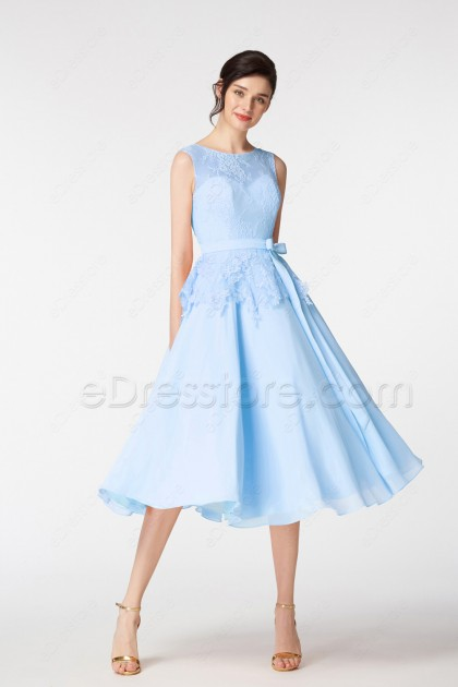 Light Blue Ball Gown Short Prom Dresses Tea Length