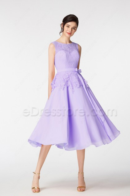 Lavender Cocktail Homecoming Dresses Tea Length