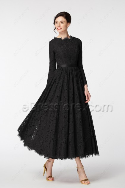 Modest Black Formal Dresses Long Sleeves Tea Length
