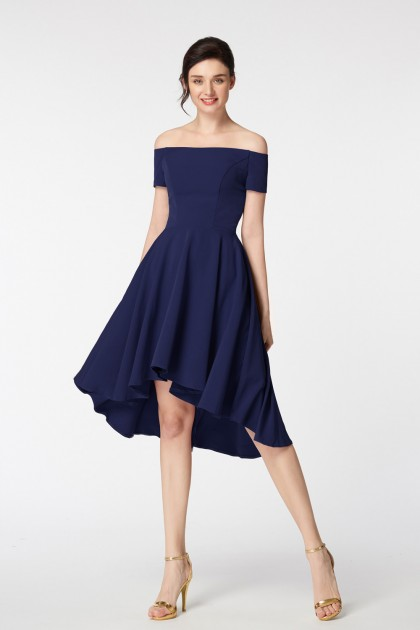 Off the Shoulder Navy Blue High Low Bridesmaid Dresses Short Sleeves