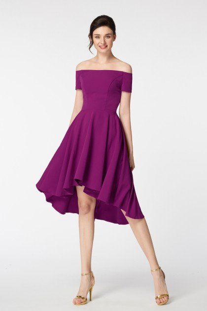 Magenta Off the Shoulder High Low Homecoming Dress