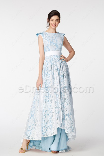 Light Blue Modest HIgh Low Pageant Evening Dresses