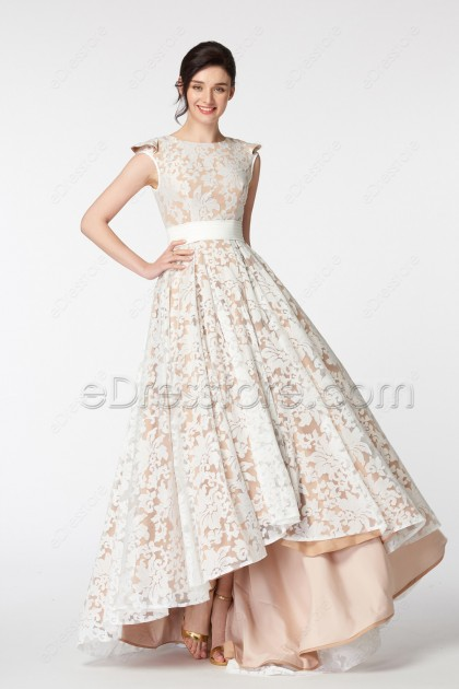Modest White Lace Champagne High Low Prom Dresses Cap Sleeves