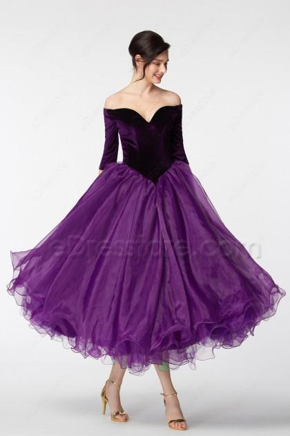 Purple Vintage Off the Shoulder Homecoming Dresses Tea Lenggth