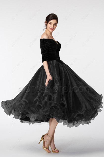 Black Vintage Evening Dresses Tea length with sleeves