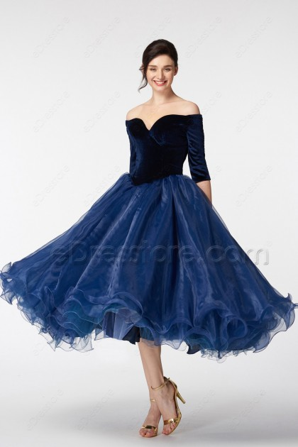 Navy Blue Off the Shoulder Ball Gown VIntage Prom Dress with Sleeves
