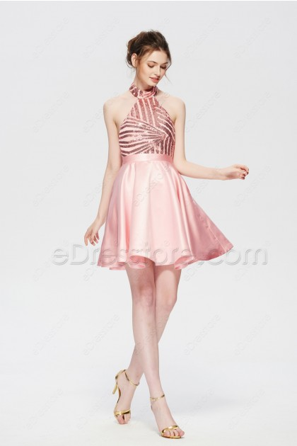 Pink Bsckless Short Prom Dresses Sparkle Homecoming Dress