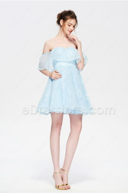 Light Blue Lace Homecoming Dresses Short Off the Shoulder