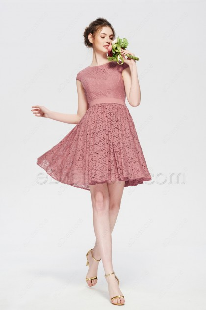 Modest Dusty Rose Short Bridesmaid Dresses Cap Sleeves Summer Wedding