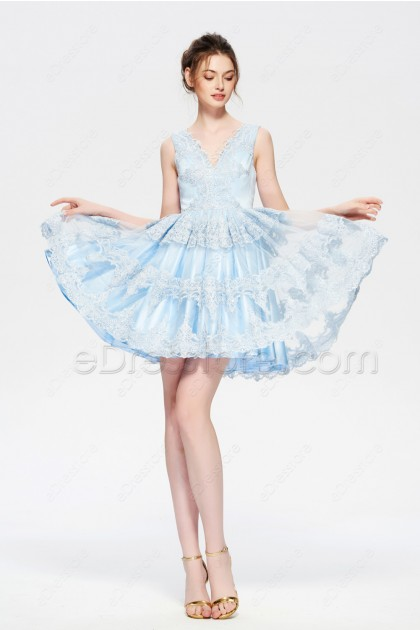Light blue lace short prom dresses homecoming dresses