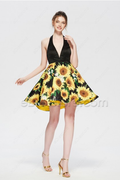 Floral sunflower yellow backless homecoming Dress Short Prom Dress