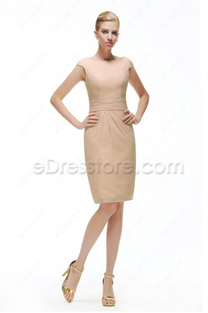 Champagne Modest Cocktail Dress Cap Sleeves