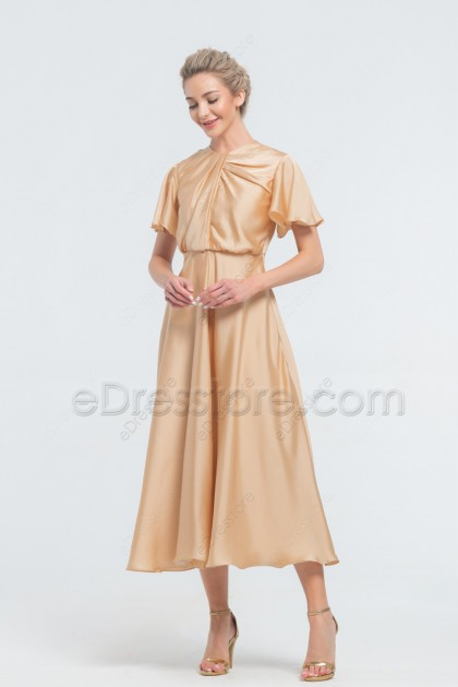 Champagne Modest Satin Midi Bridesmaid Dresses Short Sleeves