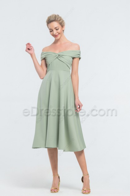 Cheap Dusty Sage Midi Bridesmaid Dresses Off the Shoulder
