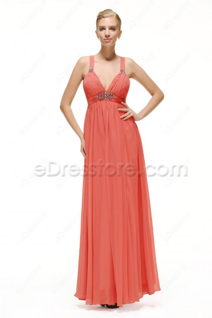 Coral Maternity Bridesmaid Dresses Long