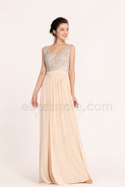 Crystals Beaded Backless Champagne Long Prom Dresses