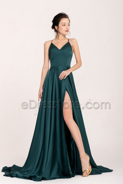 Dark Green Pretty Backless Slitted Prom Dresses Long
