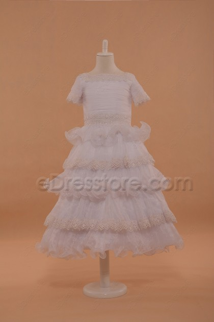 Layered First Communion Dresses with Sleeves