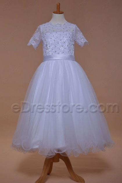 Modest Beaded Lace First Communion Dress Tea Length