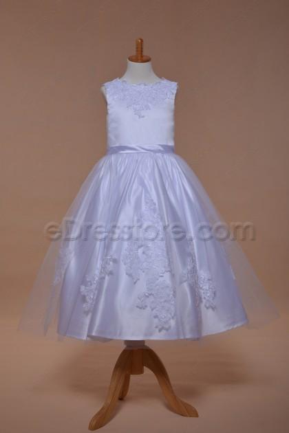 White Ball Gown First Communion Dress Tea Length