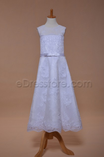 Elegant Lace A Line Holy Communion Dress Tea Length