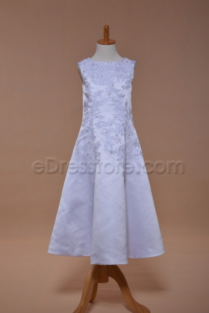 White Lace A Line First Holy Communion Dress Tea Length
