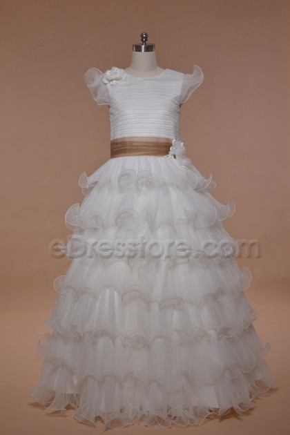 Modest Tiered First Holy Communion Dresses Floor Length