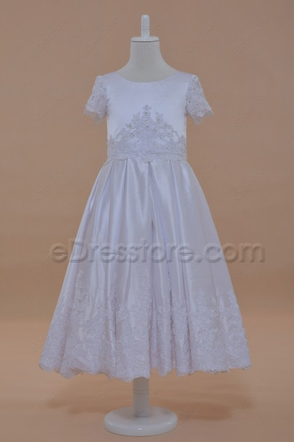 Modest White Lace First Communion Dress with Sleeves