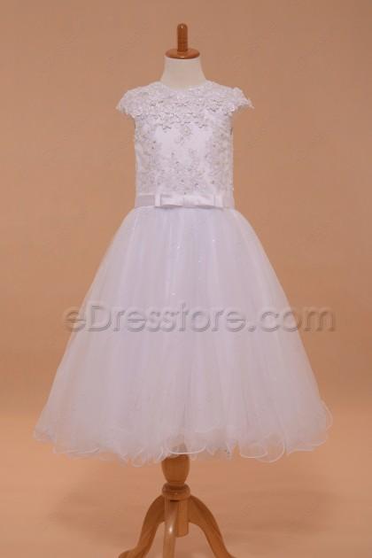 Modest White Holy Communion Dress Cap Sleeves