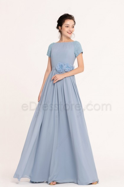 Dusty Blue Beaded Modest Bridesmaid Dress with short sleeves
