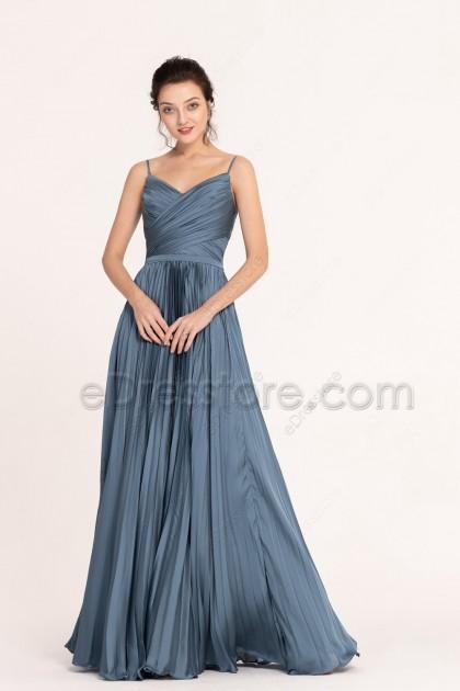Slate Blue Pleated Long Prom Dresses Spaghetti Straps
