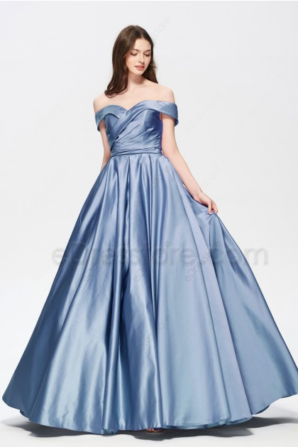 Dusty Blue Vintage Satin Bridesmaid Dresses wth Pockets