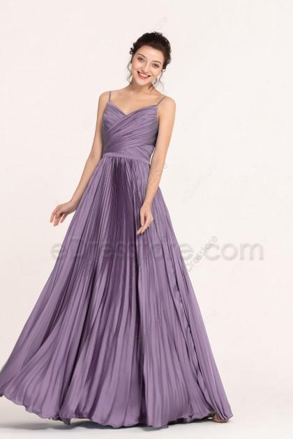 Dusty Lavender Spaghetti Straps Pleating Bridesmaid Dresses Long