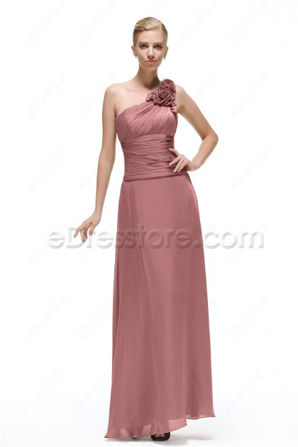 Dusty Rose Long Fomal Evening Gowns One Shoulder